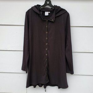 Parsley & Sage Black Hooded Button Up Tunic - M